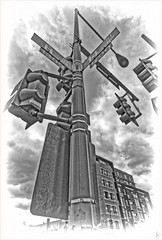 2019/260: Signal Pole at 14th and R (Rex Block) Tags: nikon d750 dslr 1835mm wide zoom washington dc 14thsteet rstreet corner intersection hiangle engraved monochrome bw project365 365the2019edition 3652019 day260365 17sep19 ekkidee 2019260signalpoleat14thandr