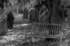 WaitingRoom (Tony Tooth) Tags: nikon d7100 sigma 70mm bench seat churchyard graveyard bw blackandwhite monochrome hdr prestbury cheshire