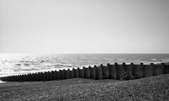 Wind Break (4foot2) Tags: eastbourne seafront seaside seawater sea water groynes people peoplewatching interestingpeople beach analogue film filmphotography 35mmfilm voigtländervitob voigtländer vitob bw blackandwhite monochrome mono rolleiretro rolleiretro400s 400s hc110 kodakhc110 kodak 2019 fourfoottwo 4foot2 4foot2flickr 4foot2photostream