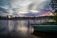 Misty daybreak II (mabuli90) Tags: finland lake water autumn fall fog mist sunrise dawn morning boat nature landscape tree forest grass