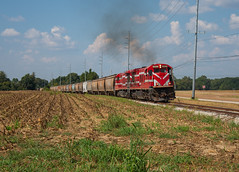 Cornfields and C30-7s (ajketh) Tags: wtnn west tennessee railroad 5517 5543 ge general electric c307 chug freight train grain fruitland humbolt tn farm countryside corn feed highway interchange jackson csx csxt