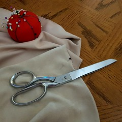 Making curtains (canadianlookin) Tags: scissors sewing curtains