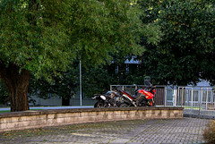 Bikes in the Courtyard (Linnea from Sweden) Tags: nikon d7000 afs dx nikkor 55200mm f456g ed vr ii bike courtyard tree yard fence building