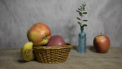 Still Life (DayBreak.Images) Tags: tabletop stilllife basket fruit apples banana blue bottle foliage canondslr lensbabyburnside35 ringlight lightroom