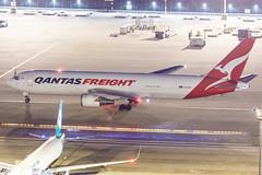QANTAS FREIGHT B767-300ERF VH-EFR 008 (A.S. Kevin N.V.M.M. Chung) Tags: aviation aircraft aeroplane airport airlines apron boeing b767 b767300 b767300erf cargo freight qantas plane spotting mfm macauinternationalairport night beacon light ramp