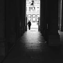 Before the yard (pascalcolin1) Tags: paris palaisroyal homme man cour yard lumière light ombres shade shadows colonnes columns photoderue streetview urbanarte noiretblanc blackandwhite photopascalcolin 5omm canon50mm canon