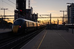 Class 800 at Sunrise (Derek Morgan Photos) Tags: reading class800 sunrise 800028 800035 readingstation