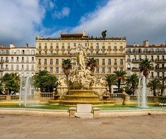 Beautiful Fountain in Rustic Toulon,  France (Seymour Lu) Tags: street plaza leica city vacation france art statue buildings lumix europe mediterranean rustic statues wideangle historic panasonic traveling fountains gh5 architecture structure cityart