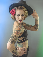 Rock N Roll Queen (Luv Duck - Thanks for 16M Views!) Tags: select corry rose tattoo tattoos photoshoot model modeling lingerie greeneyes rocknroll rocknrollqueen groupie