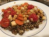 A pilaf of red and white quinoa, millet, buckwheat, and lentils; topped with roasted carrots, celery root, chick peas, cherry tomatoes, scallions (TomChatt) Tags: food homecooking parttimevegetarian
