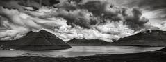 Faroe Panoramic View (I) (Maximilian Busl) Tags: färöerinseln fuglafjørdur travel sky blackandwhite panorama monochrome clouds contrast landscape fineart dramatic faroe nikon d850