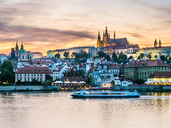 Pont saint Charles#1 (Le petit oiseau va...) Tags: europe city cityscape cathérale water river colors sunset goldenhours travel old prague praha olympus