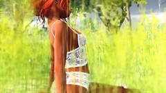 Lingerie in the field (Myra Wildmist) Tags: secondlife sl myrawildmist virtualart virtualworlds virtualphotography field grass green lingerie