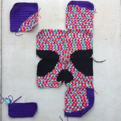 Day of the Dead crochet yarn bomb on Sunday (crochetbug13) Tags: crochet crocheting crocheted crochetyarnbomb crochetmural