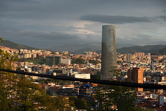 cityscape interrupted (theoswald) Tags: bilbao city basquecountry architecture cable goldenhour