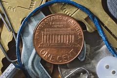 Stash of Pocket Trash (Patches Photo) Tags: macromondays junk macro drawer stash penny coin button knickknack pocket