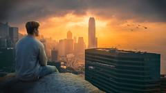 City Man Alone at Sunset - Photoshop Manipulation - Photoshop Composite (Reshaw_psd) Tags: city sunset shadow skyscraper photoshop cityscape dramatic manipulation tutorial edit solo lonesome composite