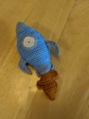rocket pillow (onebluestocking) Tags: crochet rocket pillow littlefee miniature prop