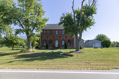 Morton Irwin House — Milford Township, Butler County, Ohio (Pythaglio) Tags: mortonirwin house dwelling residence farmhouse fivebay brick ihouse twostory federal roundarched altered addition butlercounty milfordtownship darrtown ohio trees road 1820s 66windows jackarched flemishbond