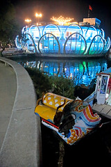 The Dragon Boat & The Floating Restaurant (peterkelly) Tags: digital canon 6d asia southeastasia vietnam indochinaencompassed gadventures hue perfumeriver songhuongfloatingrestaurant night dragonboat blu water reflection