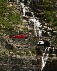 Glacier Tour bus (Valley Imagery) Tags: glacier national park red bus tour open top ford joint sun usa sony a99ii 70400gii