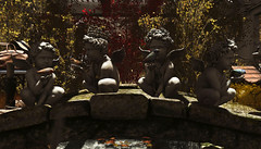 le chérubin.... (kellytopaz) Tags: cherub nutmeg shiny shabby pandemonium bridge classic garden mossy autumn leaves shrub little branch stream water bench love flowers crown is