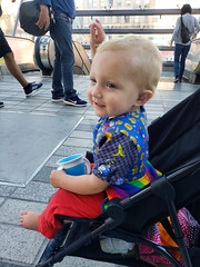 Dancing to the music downtown (quinn.anya) Tags: eliza toddler downtownberkeleybart bart plaza berkeley stroller dancing