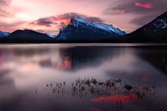 Banff Sunrise Glow (Jeff Saly) Tags: banff nationalpark canada alberta mountains lake sunrise dawn calm serene nature landscape beautiful