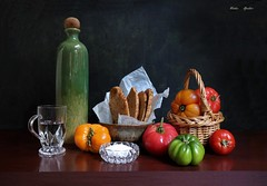 The Art of Simple Food (Esther Spektor - Thanks for 16+millions views..) Tags: stilllife naturemorte bodegon naturezamorta stilleben naturamorta composition art creativephotography tabletop food tomatoes flatbread salt water basket bowl mug paper glass ceramics wicker ambientlight red green yellow white brown estherspektor canon