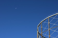 Falling Moon (gooey_lewy) Tags: moon gasometer gas works industry sky mornign soutwark integrated waste management plant frame metal blue artistic thirds open house london weekend
