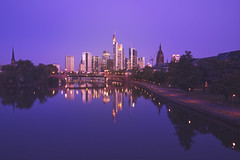 Mainhattan (timopfahl) Tags: deutschland germany frankfurt downtown skyline bluehour main river reflections