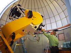 S9205097 SBAU Westmont Observatory Dr Ken Kihlstrom at Keck telescope (SBAUstars) Tags: september 19 2019 sbau bacara westmont astronomy telescope santabarbara montecito goleta sunset channel ocean
