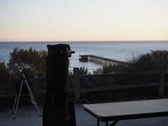 S9195074 SBAU Bacara early sunset TomT SkyWatcher dob to venoco pier (SBAUstars) Tags: september 19 2019 sbau bacara westmont astronomy telescope santabarbara montecito goleta sunset channel ocean
