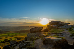 Sunset - Stanage Edge (kkimagen) Tags: sunset magicalsunset colours goldenhour bluehour nature naturephotography photography climbing peakdistrict peak pike mountains fields green blue sky clouds stone gritstone