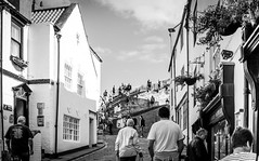 Whitby . (wayman2011) Tags: colinhart fujifilmxe2s lightroom5 wayman2011 7artisan25mmf18 bw mono coast street people northyorkshire whitby uk