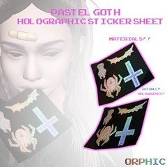 Pastel Goth Holographic Stickers (spellbookvent) Tags: second life secondlife product new stickers holographic mesh materials 3d pastel goth pastelgoth halloween cross spider bat ghost