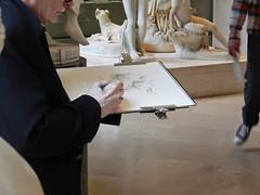 vieux monsieur dessinant (marellezap) Tags: lelouvre peinture mains musée