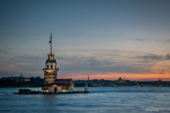 The Tower (Through_Urizen) Tags: architecture bosphorus category external istanbul longexposure maidentower places turkey canon canon70d canon1585mm outdoor travelphotography dusk evening sundown sunset skyline landmarks water sea building structure island coast coastline city clouds sky colourful
