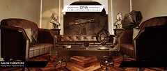 22769 for The Engine Room : September 2019 (manuel ormidale) Tags: furniture indoor decoration armillarysphere gramophone music steampunk roleplay table lamp metal rustic leather usedleather salonfurniture tripodtelescopequeenvictoriabustcigarsashtray2276922769bauwerkbauwerpaco pooleysecond life