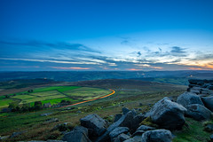 Blue hour with some golden touch - Stanage Edge (kkimagen) Tags: sunset colours magicalsunset nature bluehour goldenhour photography peakdistrict climbing naturephotography mountains peak fields pike blue sky green clouds stone gritstone