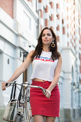 Kim (SOOC) (Chris 1971) Tags: lady female woman vrouw dame kim fiets bike bicycle peugeot classic amsterdam sooc straightoutofcamera levis skirt rok halbrenner