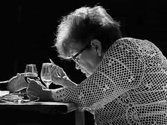 ... three hands ... (heinzkren) Tags: schwarzweis blackandwhite monochrome biancoetnero noiretblanc hands portrait woman people wine vino wein light pen glass table candid ricoh grii outdoor