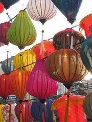 Chinese Lanterns by Day - Southbank Promenade, Melbourne (raaen99) Tags: lantern chineselantern chinese fabric paper lamp fringe pattern colour colourful color colorful green red white blue tassel string yellow magenta pink brown bronze floral lime navy light illumination festival chineselanternfestival lanternfestival southbank southbankcorniche corniche southbankpromenade artsprecinct southbankprecinct melbourne victoria australia yarrariver riveryarra yarra melbournecbd river cityscape streetphotography city fff flickrfamousfive famousflickrfive photogroup vermilion gold building skyscraper