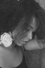 PORTRAIT ines  (2) (villatte.philippe) Tags: ines chanteuse creole guadeloupe antilles nb portrait black ebony hair coiffure cheveux