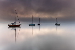 Misty Morning Sunrise Waterscape (Merrillie) Tags: daybreak foggy nature dawn mist tascott centralcoast boats morning newsouthwales clouds koolewong nsw brisbanewater fog foreshore earlymorning landscape sunrise coastal australia outdoors waterscape sky misty bay water