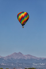 September 21, 2019 - A balloon above with Mount Meaker and Longs Peak below. (Tony's Takes)