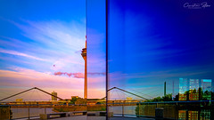 3.bridges.and.half.a.rheinturm (grizzleur) Tags: düsseldorf dusseldorf duesseldorf pretty beautiful beauty sunset blue bluehour light rhinetower tower rheinturm reflection half halving sky amazing gradient color colors colorful fuji fujifilm fujixt3 fujinon xf1614 xf16mmf14