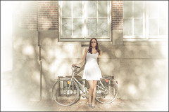 Fall Conquers Summer (Chris 1971) Tags: kim amsterdam peugeot fiets bike bicycle shadow fall herfst autumn pose poseren dress jupe jurk halbrenner