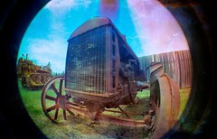 ᔑ•ﺪ͟͠•ᔐ (Crusty Da Klown) Tags: kootenays fortsteele bc britishcolumbia canada tractor vintage old metal steel iron round circle outside outdoors lomo lomography film kodak lofi wheels machine radiator summer