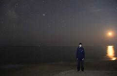 I am and meteor (filipp.romanov) Tags: meteor astronomy sea coast primorsky krai russia water moon